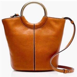 J Crew Leather Circle Handle Bucket Bag